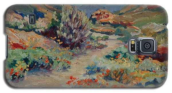 Galaxy S5 Case featuring the painting Desert Spring Flowers With Path by Thomas Bertram POOLE