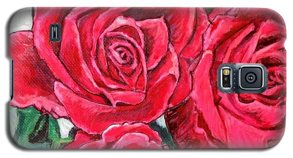 Galaxy S5 Case featuring the painting Detail Of The Delight Of Grandma's Roses Painting by Kimberlee Baxter