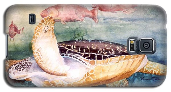 Galaxy S5 Case featuring the painting Determined - Loggerhead Sea Turtle by Roxanne Tobaison