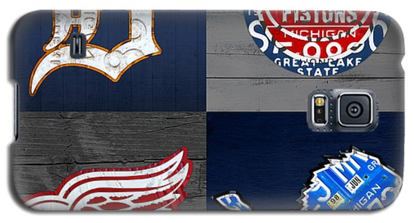Lion Galaxy S5 Case - Detroit Sports Fan Recycled Vintage Michigan License Plate Art Tigers Pistons Red Wings Lions by Design Turnpike