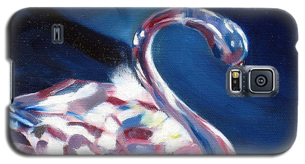 Galaxy S5 Case featuring the painting Diamond Swarovski Swan by LaVonne Hand
