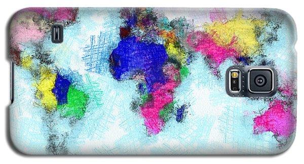 Digital Art Map Of The World Galaxy S5 Case by Georgi Dimitrov