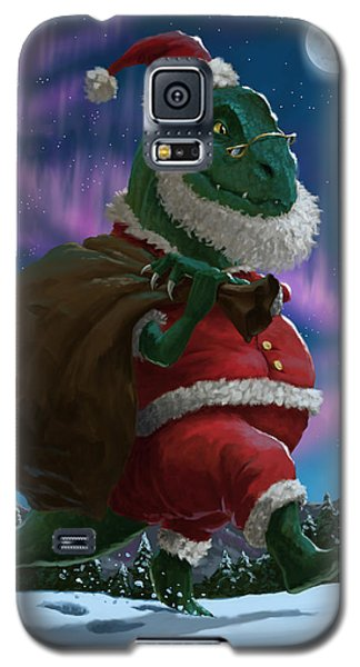 Dinosaur Christmas Santa Out In The Snow Galaxy S5 Case