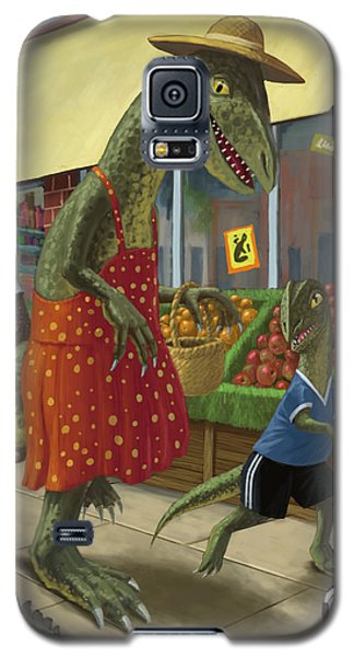 Dinosaur Mum Out Shopping With Son Galaxy S5 Case
