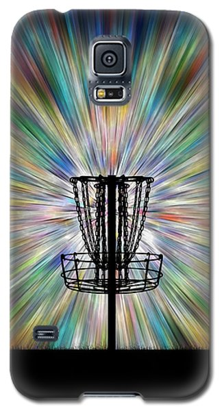 Disc Golf Basket Silhouette Galaxy S5 Case by Phil Perkins