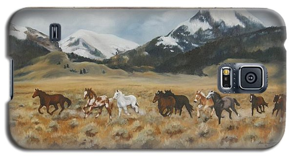 Galaxy S5 Case featuring the painting Discovery Horses Framed by Lori Brackett