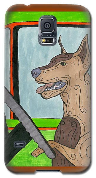 Galaxy S5 Case featuring the painting Doberman Driving by Susie Weber