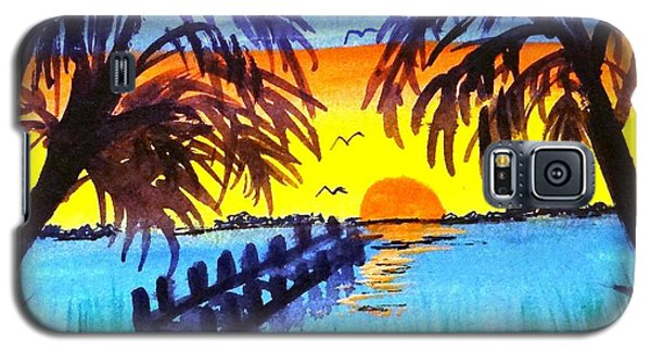 Galaxy S5 Case featuring the painting Dock At Sunset by Ecinja Art Works