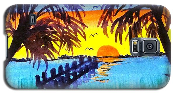 Dock At Sunset Galaxy S5 Case by Ecinja Art Works