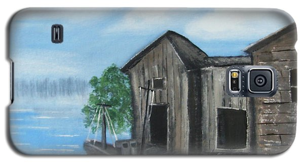 Galaxy S5 Case featuring the painting Docked At Bayou by Mindy Bench