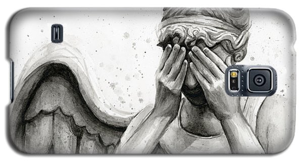 Watercolor Galaxy S5 Case - Doctor Who Weeping Angel Don't Blink by Olga Shvartsur