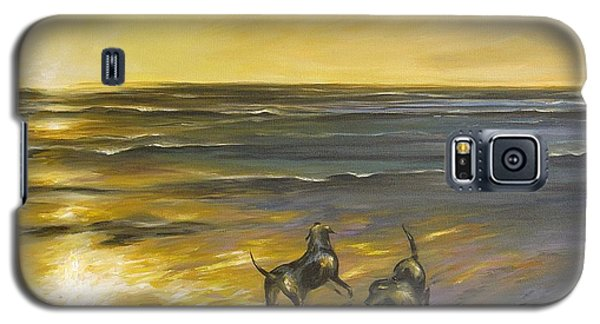 Galaxy S5 Case featuring the painting Dog Beach by Dina Dargo