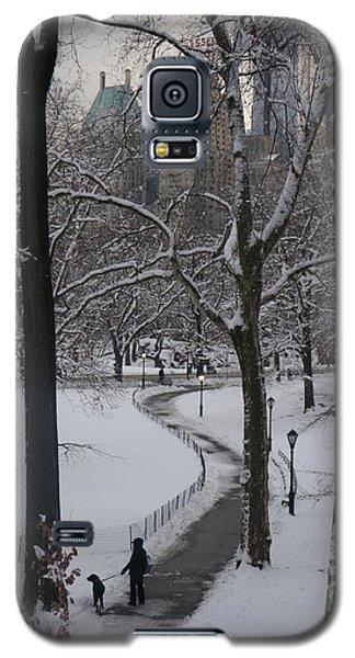 Dog Walking In A Snowy Central Park Galaxy S5 Case