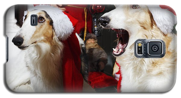 Galaxy S5 Case featuring the photograph dogs Borzoi puppies and Christmas greetings by Christian Lagereek