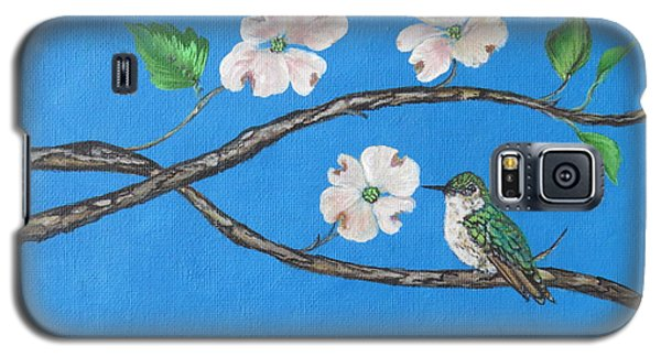 Galaxy S5 Case featuring the painting Dogwood And Hummingbird by Ella Kaye Dickey