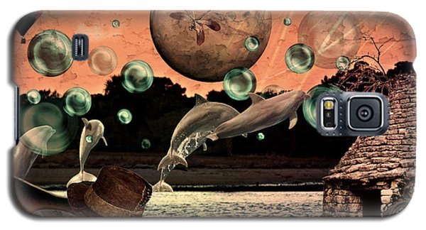 Galaxy S5 Case featuring the mixed media Dolphin Dreams by Ally  White