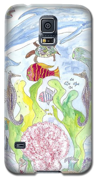 Galaxy S5 Case featuring the painting Dolphin With Pink Sea Scallop by Helen Holden-Gladsky