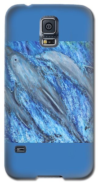 Galaxy S5 Case featuring the painting Dolphins At Play by Penny Birch-Williams