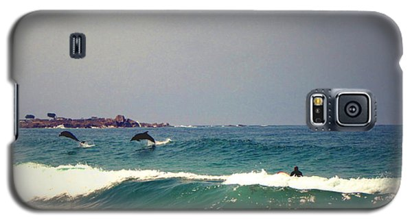 Dolphins Swimming With The Surfers At Asilomar State Beach  Galaxy S5 Case