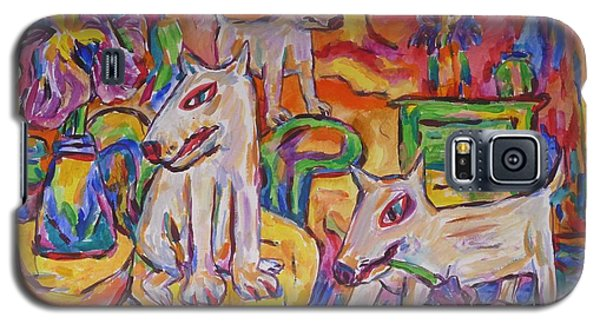 Galaxy S5 Case featuring the painting Domesticated Wolves In Dutch Iris Room by Dianne  Connolly