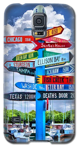 Door County Directional Sign In Egg Harbor Galaxy S5 Case