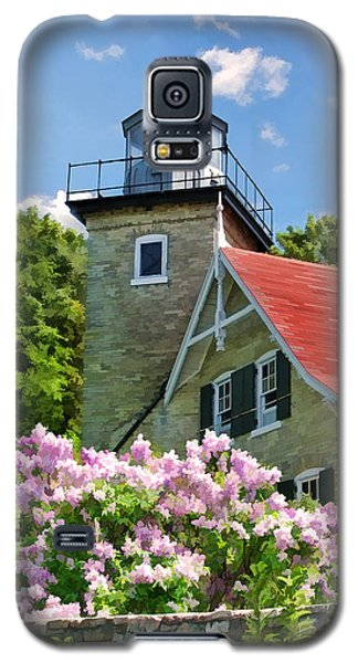 Door County Eagle Bluff Lighthouse Lilacs Galaxy S5 Case by Christopher Arndt
