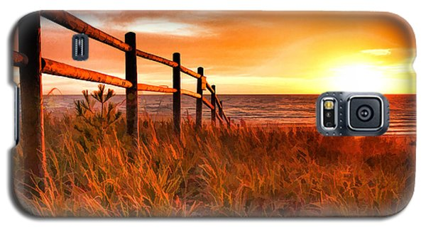 Door County Europe Bay Fence Sunrise Galaxy S5 Case by Christopher Arndt