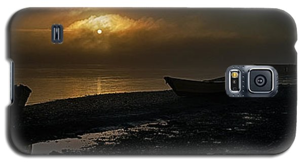 Galaxy S5 Case featuring the photograph Dories Beached In Lifting Fog by Marty Saccone