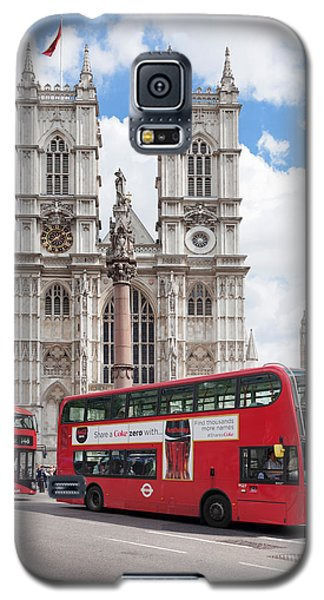 Double-decker Buses Passing Galaxy S5 Case by Panoramic Images
