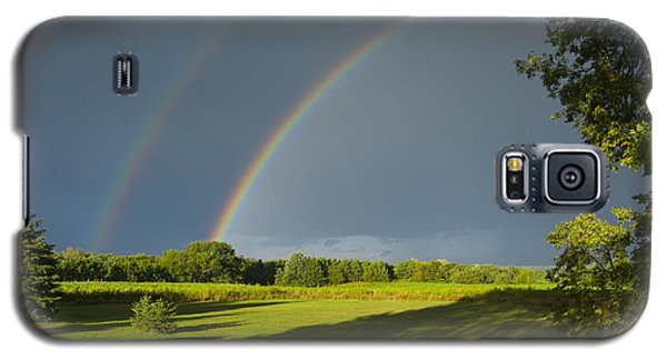 Double Rainbow Over Fields Galaxy S5 Case