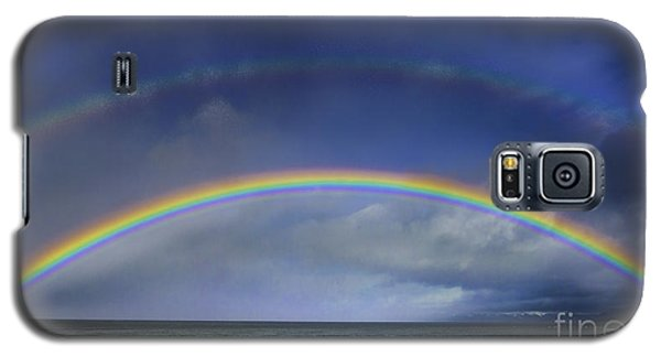 Double Rainbow Over Lake Tahoe Galaxy S5 Case by Mitch Shindelbower