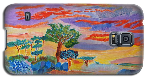 Galaxy S5 Case featuring the painting Candy Coated Monterey Sunset by Meryl Goudey