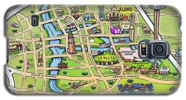 Downtown San Antonio Texas Cartoon Map Galaxy S5 Case