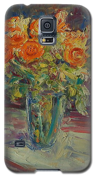 Galaxy S5 Case featuring the painting Dozen Orange Roses by Thomas Bertram POOLE