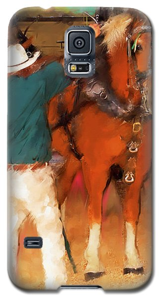 Galaxy S5 Case featuring the painting Draft Horse And Trainer by Ted Azriel