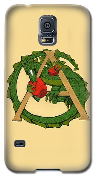 Galaxy S5 Case featuring the drawing Dragon Letter A by Donna Huntriss