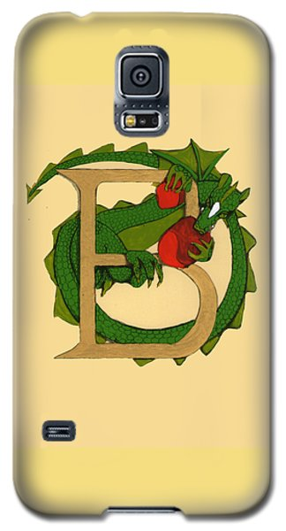 Galaxy S5 Case featuring the drawing Dragon Letter B by Donna Huntriss