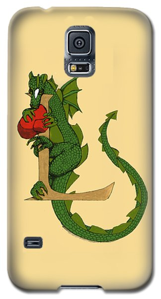 Galaxy S5 Case featuring the drawing Dragon Letter L by Donna Huntriss