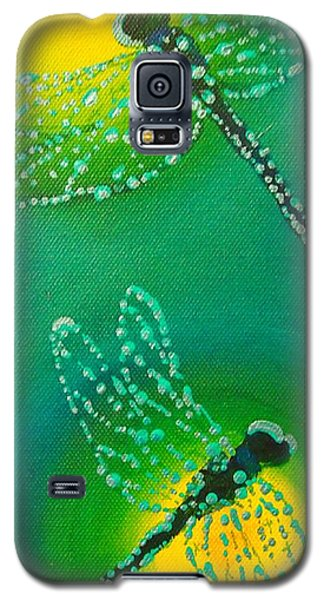 Dragonflies Adorned With Morning Dew Galaxy S5 Case by Janet McDonald
