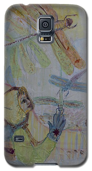 Galaxy S5 Case featuring the painting Dragonflies In Winter by Avonelle Kelsey