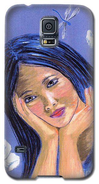 Galaxy S5 Case featuring the painting Dragonfly Dreamer by Jane Small
