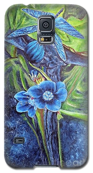 Galaxy S5 Case featuring the painting Dragonfly Hunt For Food In The Flowerhead by Kimberlee Baxter