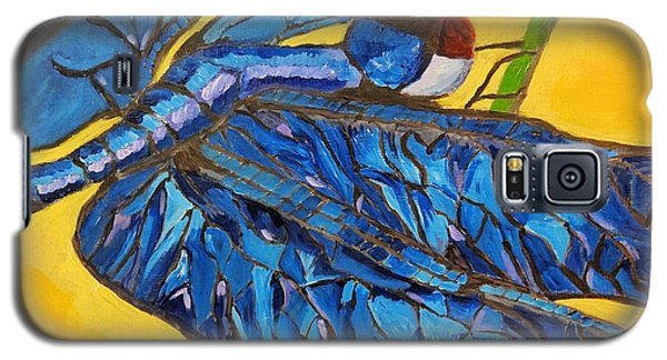 Galaxy S5 Case featuring the painting Dragonfly In Blue by Lisa Brandel