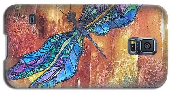 Galaxy S5 Case featuring the painting Dragonfly Rust by Christy  Freeman