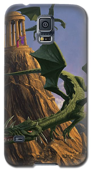 Dragons Flying Around A Temple On Mountain Top  Galaxy S5 Case