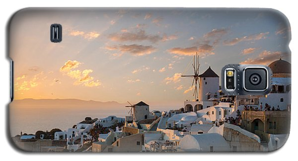 Dramatic Sunset Over The Windmills Of Oia Village In Santorini Galaxy S5 Case by Gurgen Bakhshetsyan