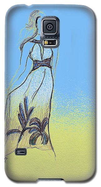 Galaxy S5 Case featuring the drawing Dreamgirl by Sladjana Lazarevic