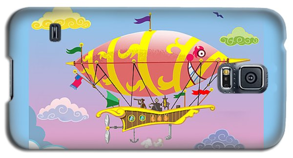 Galaxy S5 Case featuring the mixed media Rainbow Steampunk Dreamship by J L Meadows
