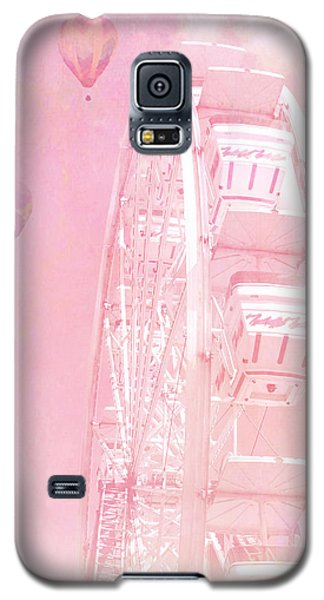 Dreamy Baby Pink Ferris Wheel Carnival Art With Hot Air Balloons Galaxy S5 Case