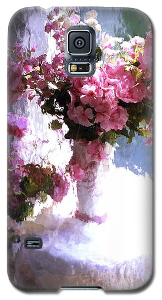 Dreamy Cottage Chic Impressionistic Flowers - Pink Roses Pink Vases Galaxy S5 Case
